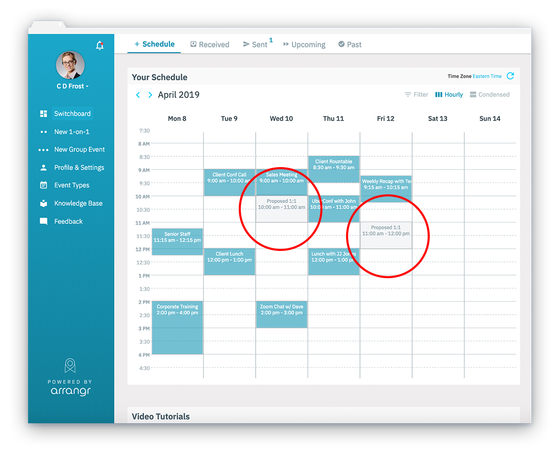 Automatic placeholders inserted in your calendar by Arrangr for your tentative Zoom meeting times