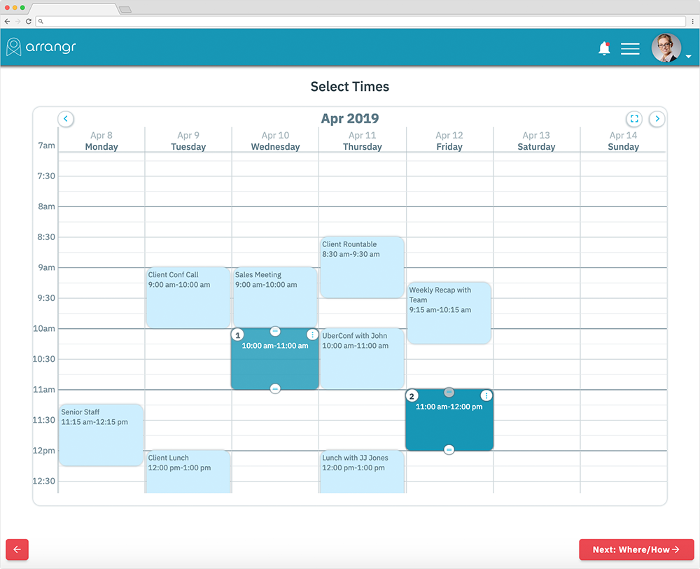 Arrangr time selector - suggest some dates and times for your Zoom meeting