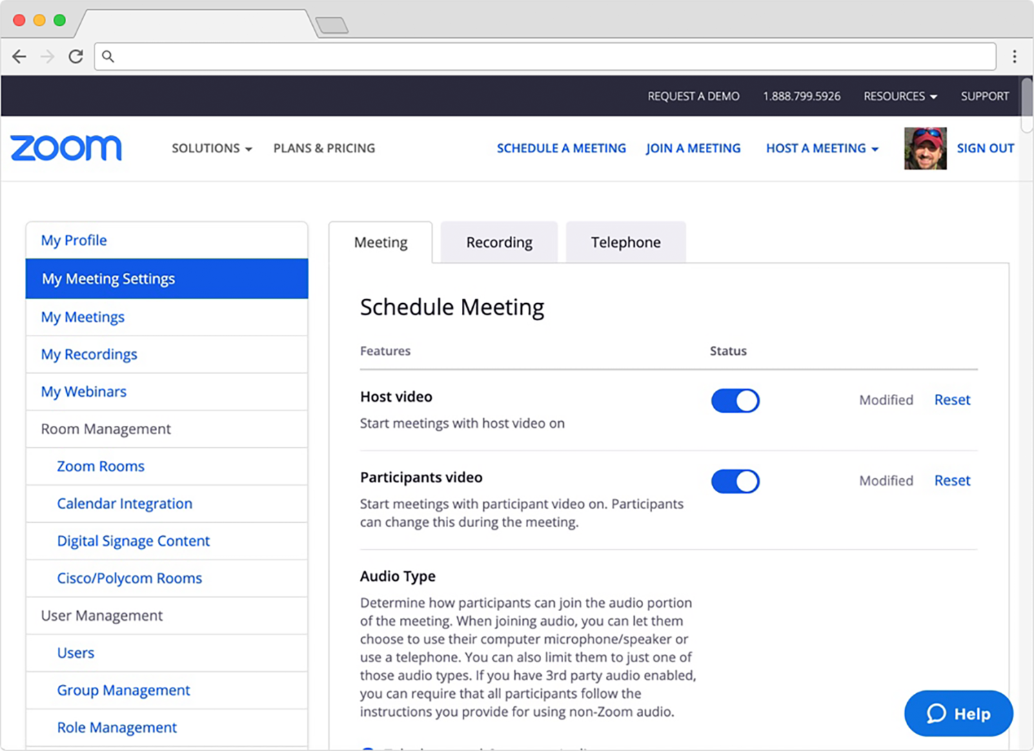 Zoom meeting settings page